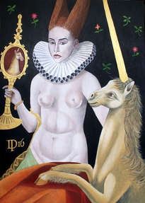 naked woman with unicorn in paradise