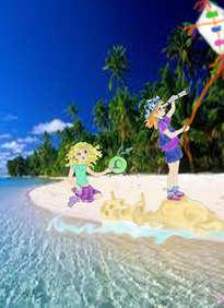 niñas en isla