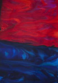 cielo rojo sobre mar azul