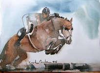 caballo de salto con jinete