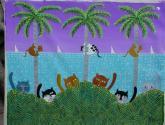 gatos con palmeras