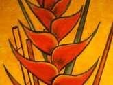 heliconia  roja en fondo amarillo