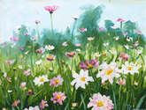flower meadow delicate flowers. artist rybakow. painting for sale.