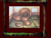 bodegón de vasijas con receptáculo