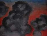 pôr-do-sol sangrado de núvens