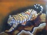 tigre en aluminio repujado