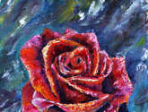 flower oil knife painting red rose.