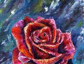 flower oil knife painting red rose.