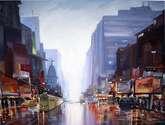 rainy day reflection on street