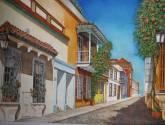 calle colonial en el centro amurallado de cartagena de indias