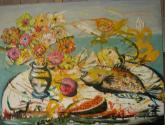 florero y pescado