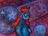 woman rooster in the forest of spheres.