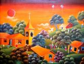 paisaje primitivo en naranja