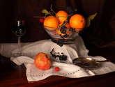 bodegón de mandarinas y granadas