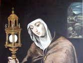 santa clara. pintura al óleo sobre tabla. reproducciones de obras de arte. por encargo.