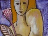 mujer con flor y fondo violeta