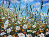 flower painting glade summer flowers.
