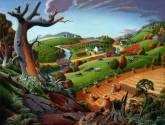autumn wheat harverst folk art country farm americana landscape oil painting