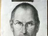sketch of steven jobs  on paper