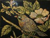 pájaro y rosas