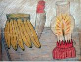 bodegon con bananas cuchillo y lampara no3