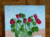 old roses and a card