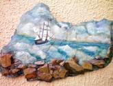 acantilado (oleo sobre piedra)