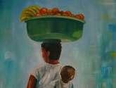mulher vendendo frutas, carregando bebe