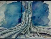 árbol sobre azul
