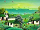 paisaje primitivo en  verde claro