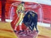 torero toreando interior de una copa de vino