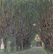 tree-lined road leading to the manor house at kammer, upper austria (1912)