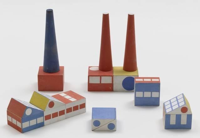 1.	Ladislav Sutnar (American, born Bohemia [now Czech Republic]. 1897–1976). Build the Town building blocks. 1940–43. Painted wood, thirty pieces of various dimensions, largest smokestack: 7 3/8 x 2″ (18.7 x 5.1 cm). The Museum of Modern Art, New York. Gift of Ctislav Sutnar and Radoslav Sutnar.