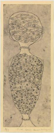 1.	Louise Bourgeois. I See You!!. 2008. Etching, 59 1/8 x 24 1/8 (150.2 x 61.3 cm). Publisher: Osiris Editions, New York. Printer: Wingate Studio, Hinsdale, New Hampshire. Edition: 9. The Museum of Modern Art, New York. Gift of the Louise Bourgeois Trust, 2011.  2012 Louise Bourgeois Trust