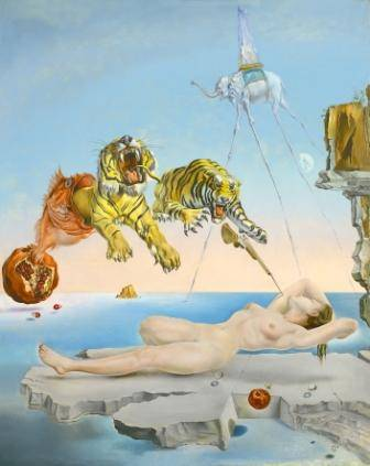 Salvador Dalí Dream Caused by the Flight of a Bee around a Pomegranate a Second before Waking up,  1944 Oil on wood 51 x 41 cm Museo Thyssen-Bornemisza, Madrid  © Salvador Dalí, Gala-Salvador Dalí Foundation / 2011, ProLitteris, Zurich