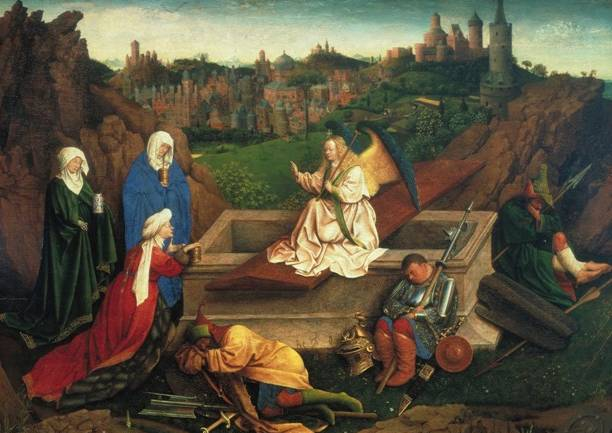 Jan and/or Hubert van Eyck, The Three Marys at the Tomb, c.1425-1435, oil on panel, Museum Boijmans Van Beuningen, Rotterdam, acquired with the collection of D.G. van Beuningen, 1958