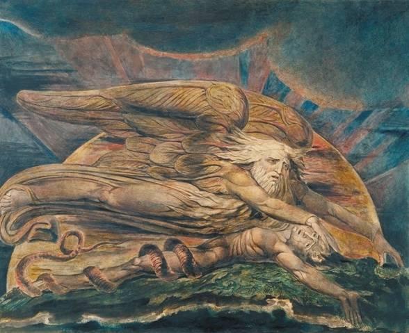 William Blake. Elohim crea a Adán. 1795, ¿c. 1805?. Grabado en color acabado en tinta y acuarela sobre papel © Tate