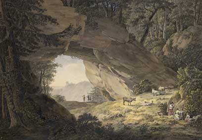 Adrian Zingg The cowshed in Saxon Switzerland, 1786 Pen in black, aquatint, 358 x 519 cm Albertina, Vienna