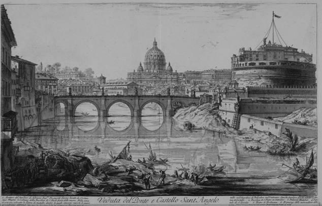 Vista del puente y el castillo de Sant'Angelo. Vedute di Roma.Fondazione Giorgio Cini, Venecia