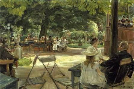 1. Max Liebermann (1847-1935)  In den Zelten (Restaurationsgarten ? Biergarten in Leiden), 1900  Öl auf Leinwand, 51 x 76 cm  © Hamburger Kunsthalle / bpk  Photo: Elke Walford