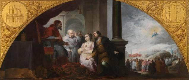 El patricio revelando su sueño al Papa Liberio Bartolomé Esteban Murillo Óleo sobre tela, 232 x 522 cm 1662 - 1665 Madrid, Museo Nacional del Prado