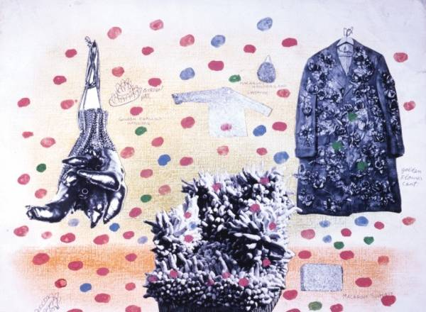 Yayoi Kusama (b. 1929), Self-Obliteration No. 1, 1962—7. Watercolor, ink, graphite, and photocollage on paper, 15 7/8 x 19 13/16 in. (40.4 x 50.4 cm). Collection of the artist. © Yayoi Kusama. Image courtesy Yayoi Kusama Studio Inc.; Ota Fine Arts, Tokyo; Victoria Miro Gallery, London; and Gagosian Gallery, New York