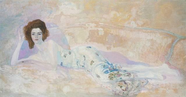 Hermen Anglada-Camarasa. Figura recostada en un sofá, c. 1911. Óleo sobre lienzo, 1151 x 217 cm Colección Hermen Anglada-Camarasa de la Fundación