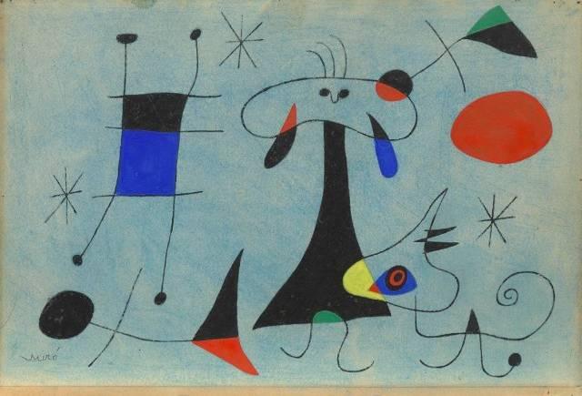 1. Joan Miró: Personaggio, cane, uccello, 1946 Guazzo e acquerello su carta 21 x 31,1 cm Museo Solomon R. Guggenheim, New York
