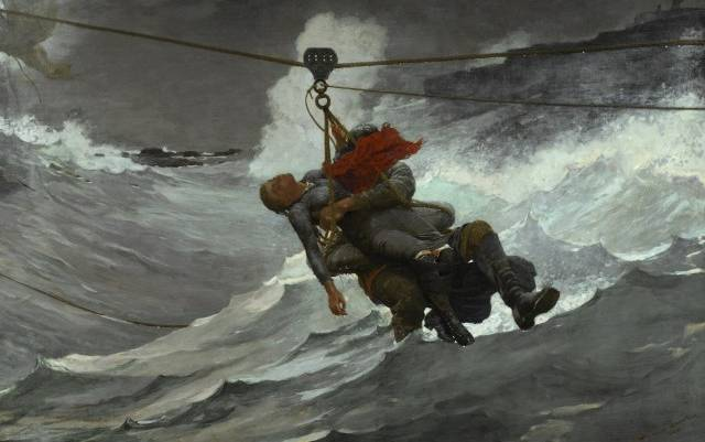 IMAGE 5: The Life Line, 1884. Winslow Homer, American, 1836 - 1910. Oil on canvas, 28 5/8 x 44 3/4 inches (72.7 x 113.7 cm), Philadelphia Museum of Art, The George W. Elkins Collection, 1924