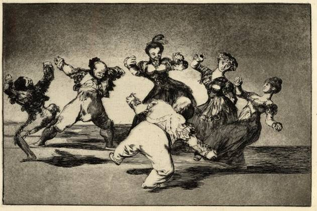 Figures Dancing in a circle from Los Disparates, 1816-23, Francisco Goya (1746-1828). Print, 245 x 355 mm. © Trustees of the British Museum