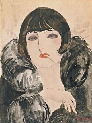 DONGEN, Kees van_Retrato de una mujer con un cigarrillo (Kiki de Montparnasse)_