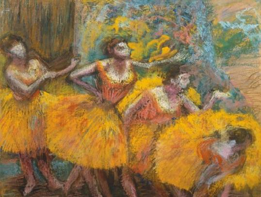 Edgar Degas Trois danseuses (jupes bleues, corsages rouges), c. 1903 Three Dancers (Blue Tutus, Red Bodices) Pastel, 94 x 81 cm Fondation Beyeler, Riehen/Basel Photo: Peter Schibli, Basel Maximum size of photograph for high quality definition: 24 x 28 cm