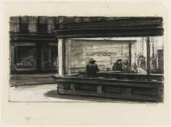 Nighthawks, por Hopper (dibujo)
