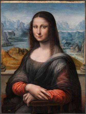La Gioconda (después de su restauración)  Taller de Leonardo da Vinci H. 1503-16 Óleo sobre tabla de nogal, 76,3 x 57 cm Madrid, Museo Nacional del Prado